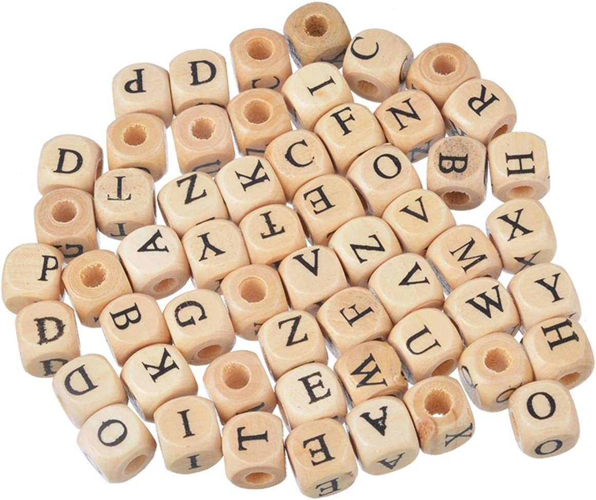 200PCs Wood Spacer Beads Alphabet Cube Mixed  For jewelry Making 10x10mm