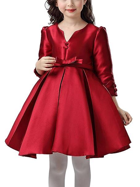 Happy Cherry - Rojo Rojo Vestido Formal de Princesa con Mangas Largas Traje de Fiesta para