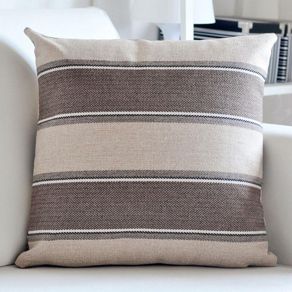 M MOCHOHOME Linen Decorative Stripe Square Throw Pillow Cover Case Pillowcase Cushion Sham - 22'' x 22'', Coffee