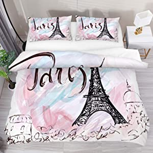 Painted Eiffel Tower in Paris 3 Piece Bedding Duvet Cover Set Printed Comforter Bed Sheets with 2 Pillow Cases Shams with Zipper Closure for Kids Teen Boys Girls-Twin Size