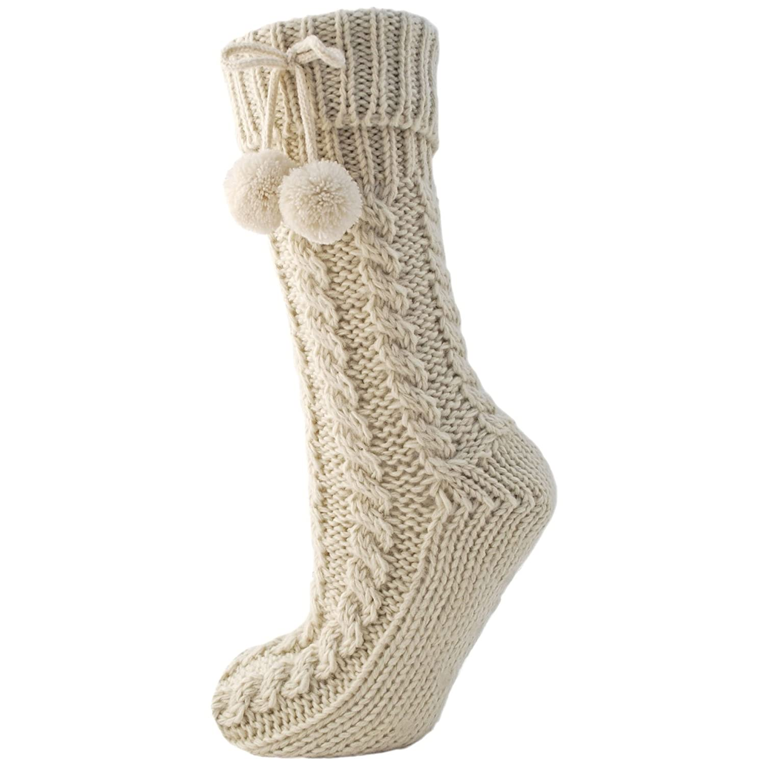 Womens/Ladies Knitted Long Cable Booties/Socks With Pom Poms Universal Textiles UTW370_1