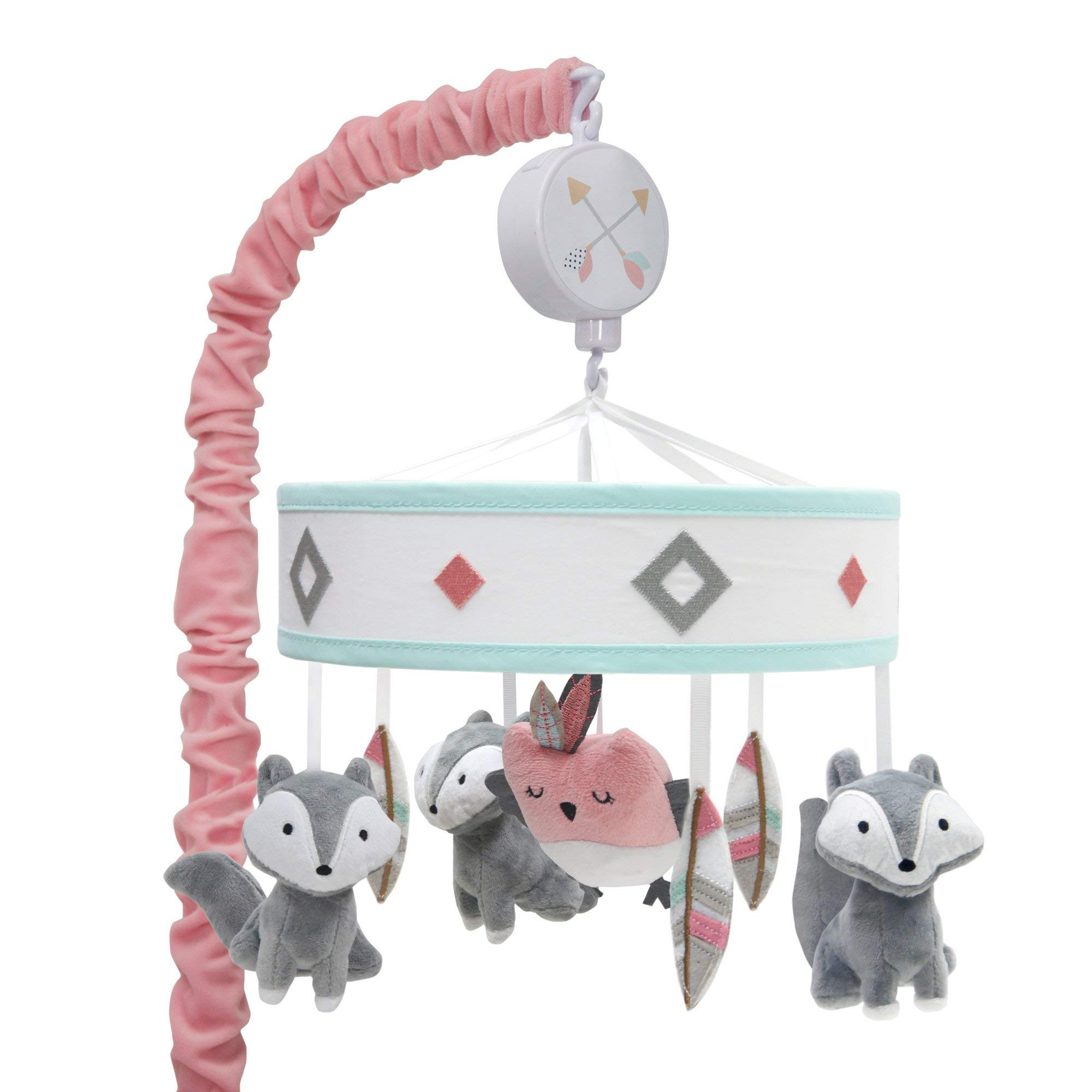 Lambs & Ivy Little Spirit Musical Baby Crib Mobile - White, Coral, Animals, Modern, Owl, Fox