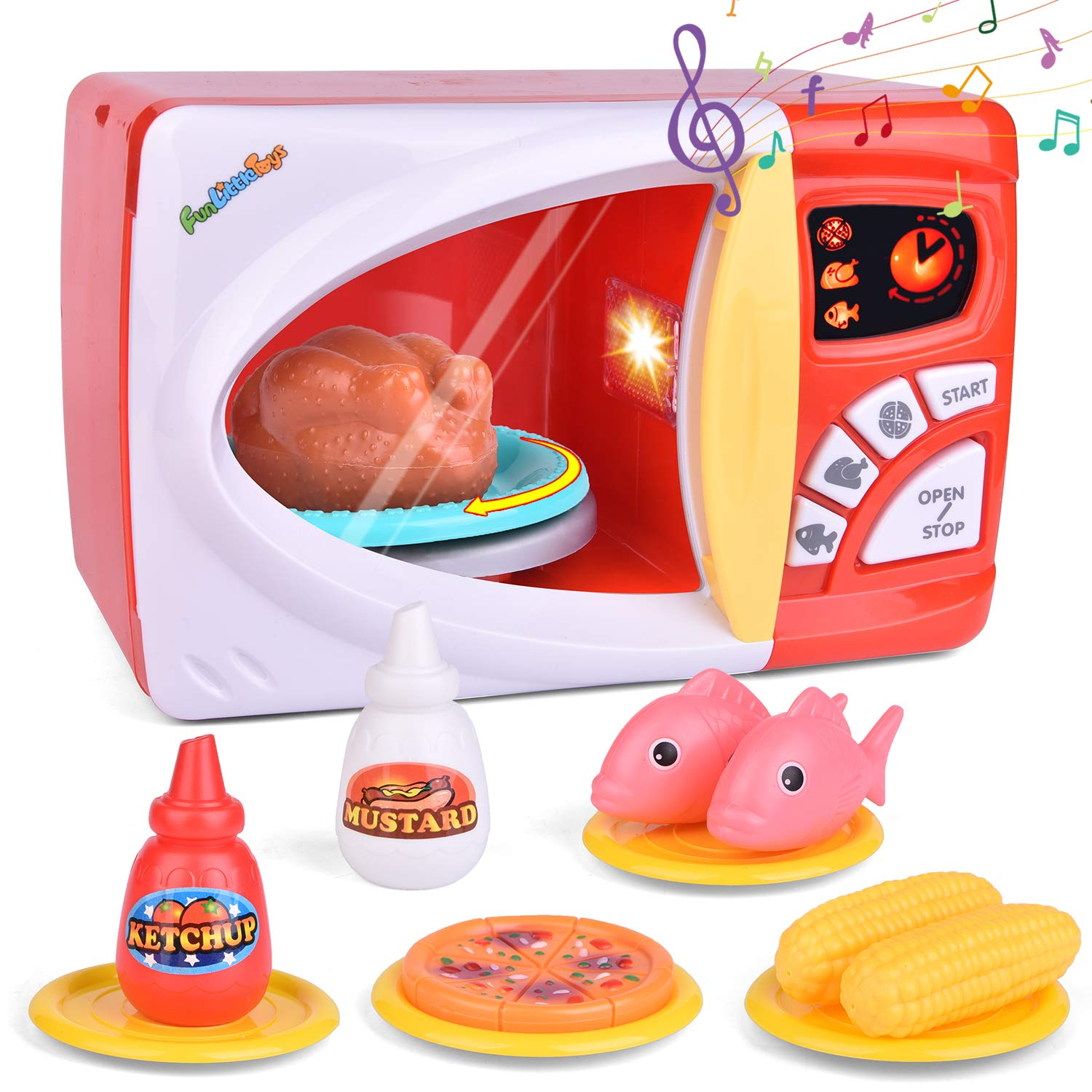 FunLittleToy Kids Play Kitchen, Pretend Play Set with Toy Microwave, Play Foods and Accessories
