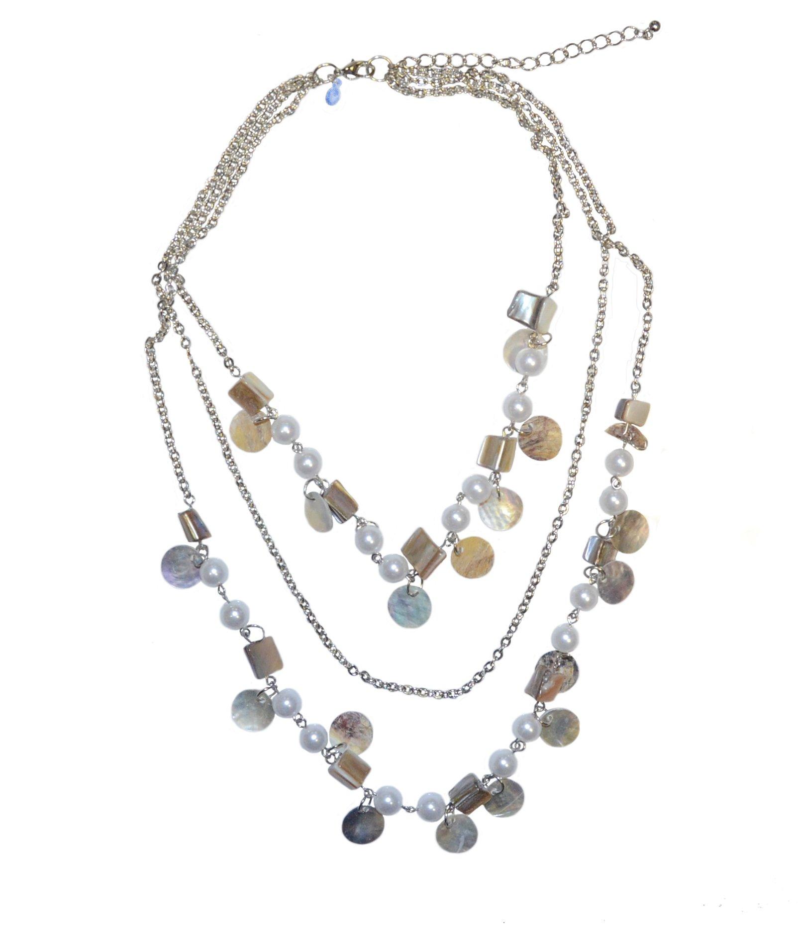 Premier Designs Coastal 3 strand 17'' Shell & Pearl Necklace