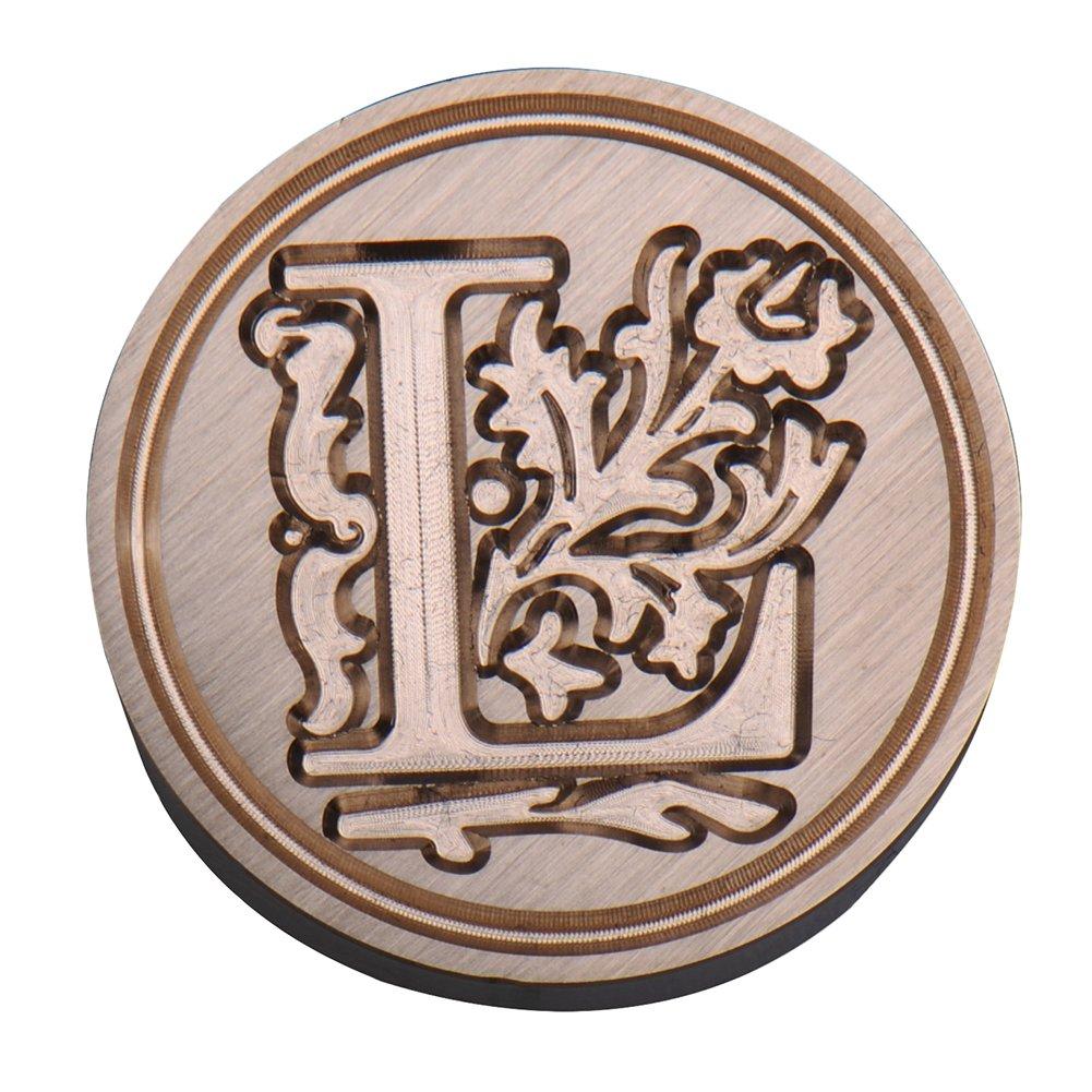Sigillo per ceralacca con manico in palissandro timbro in ottone stile: vintage Type M e lettere dell/'alfabeto Ming