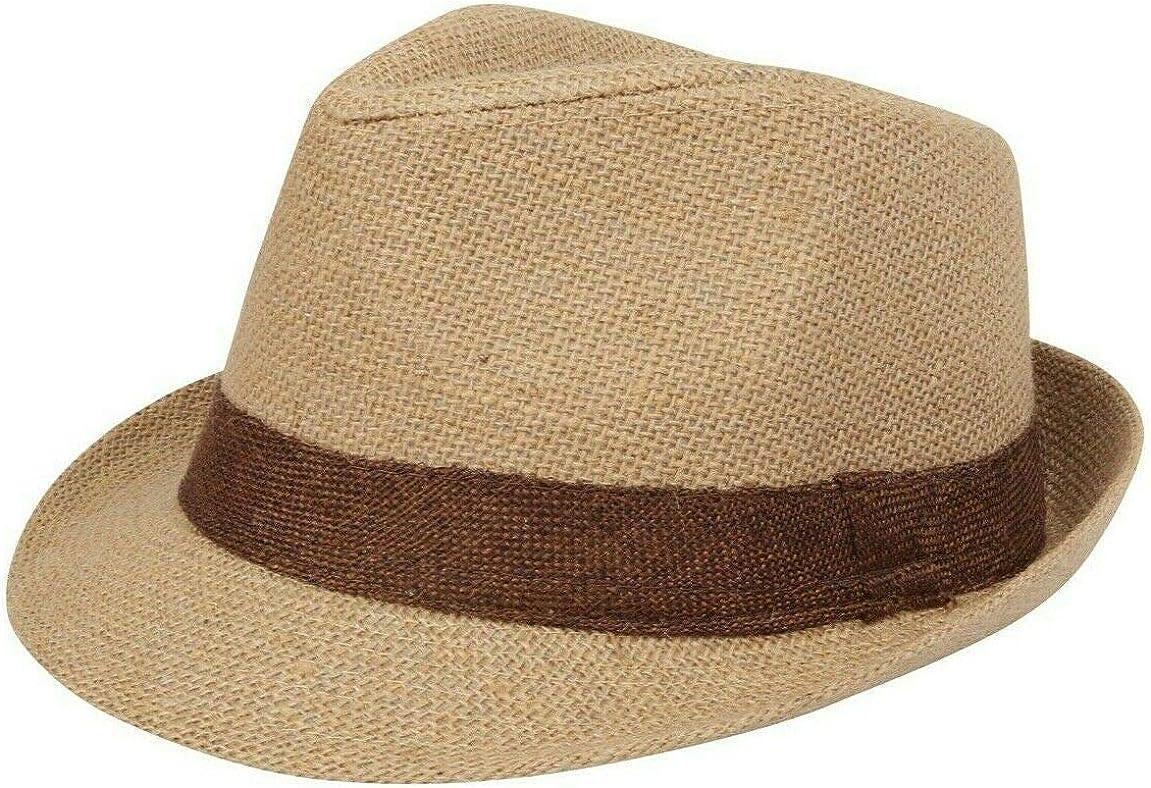 Nicky Adams Trilby - Sombrero de Paja de arpillera para Festivales de Vacaciones, Estilo Fedora, Unisex en 6