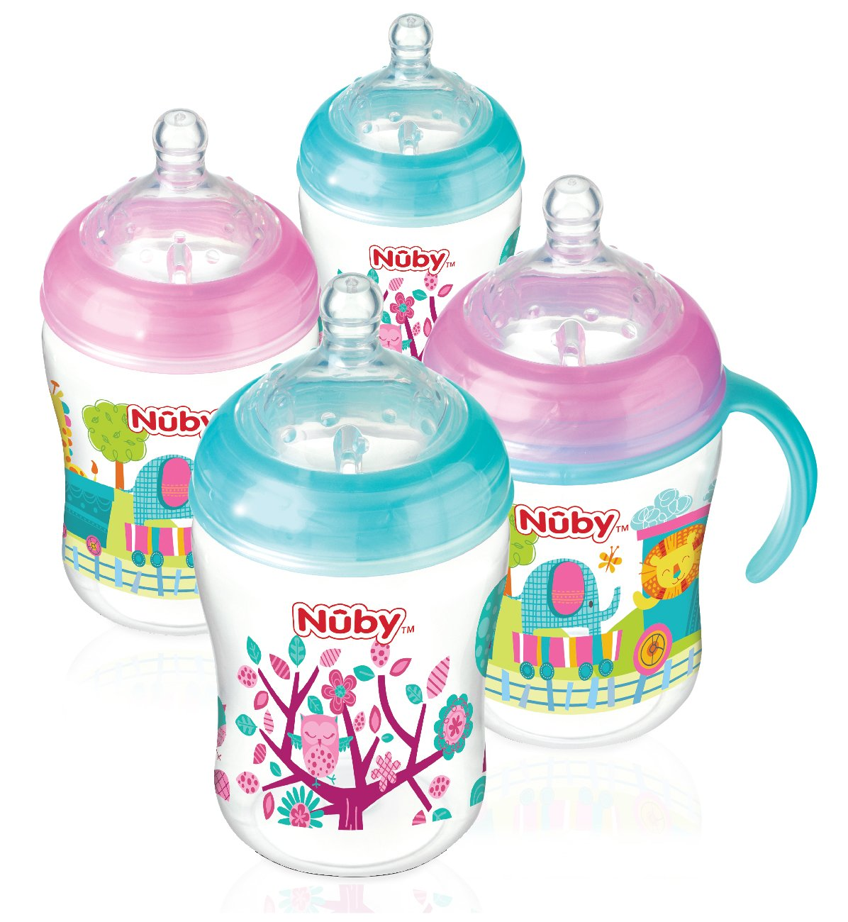 Nuby Natural Touch Anti-Colic Bottles, Pink/Aqua, 270 ml, Pack of 4 92808