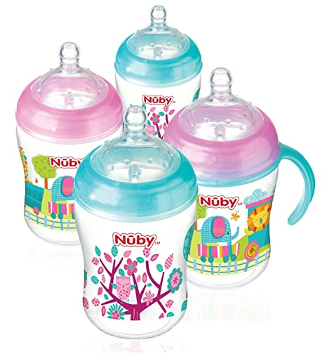 270 ml Pack of 4 Unicorn Nuby Natural Touch Decorated Bottles