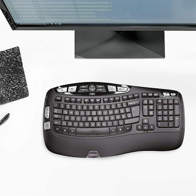 Logitech K350 Teclado Inalámbrico Ergonómico con Receptor USB Unifying, Disposición QWERTY Pan Nordic, Negro