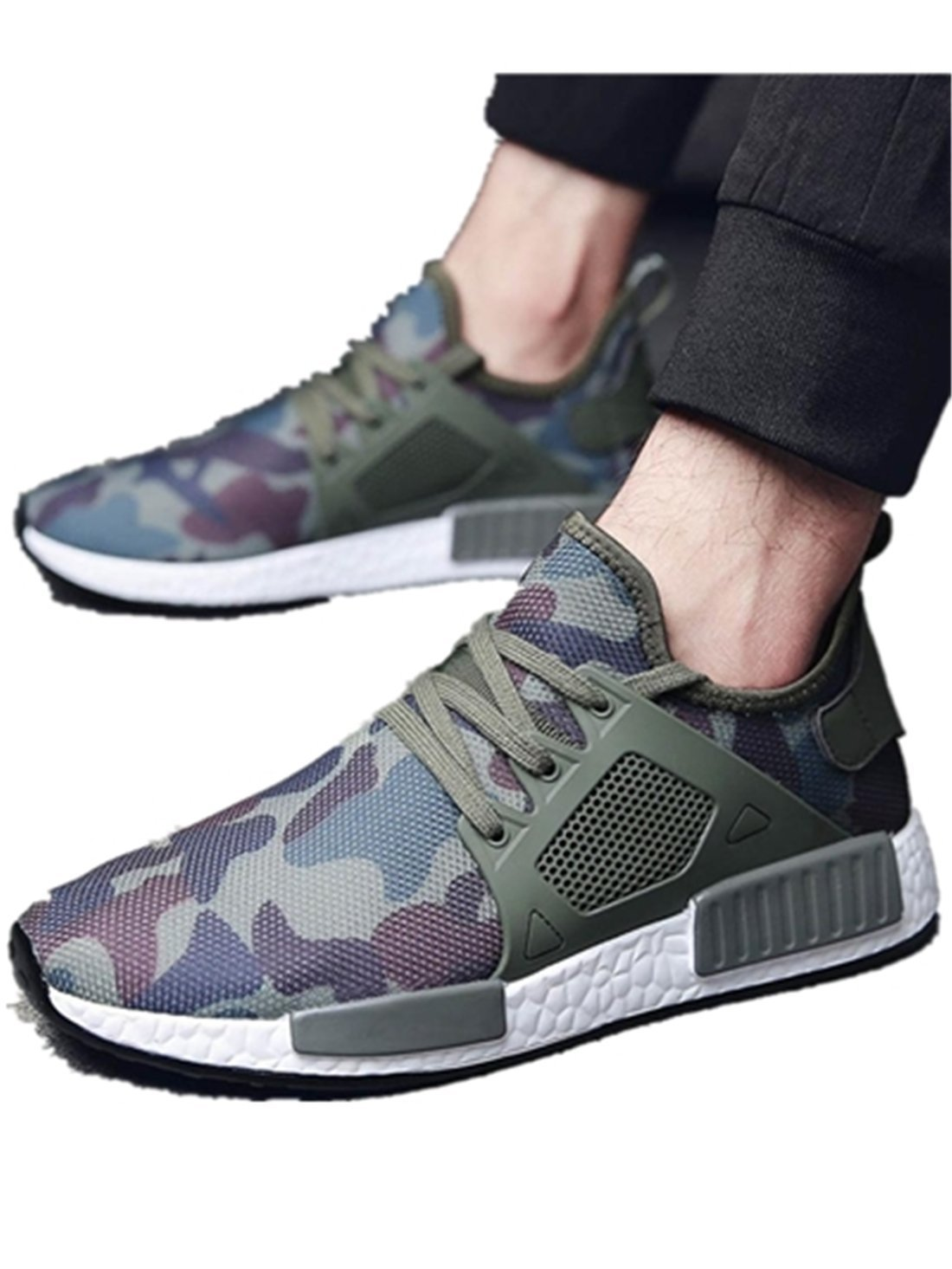 Hemlock Men Outdoors Shoes, Men's Athletic Shoes Casual Sneakers Running Breathable Sports Shoes (US:8.5, Green)