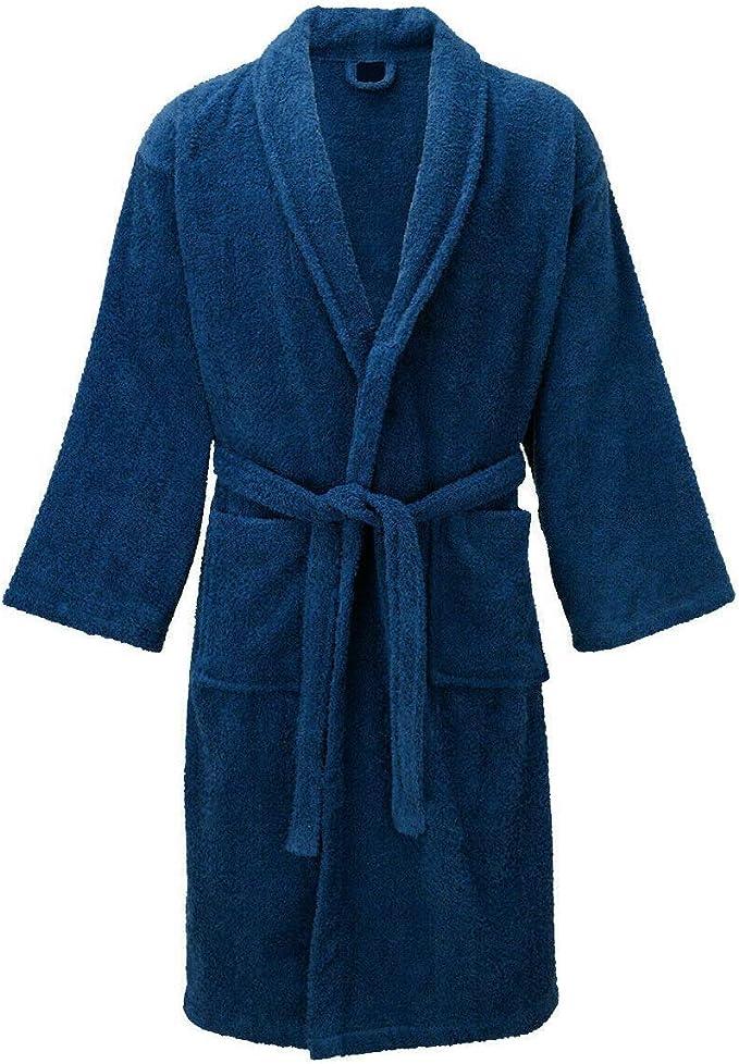 CTL Manchester - Albornoz para Hombre y Mujer, 100% algodón Egipcio Azul Azul L: Amazon.es: Ropa y accesorios