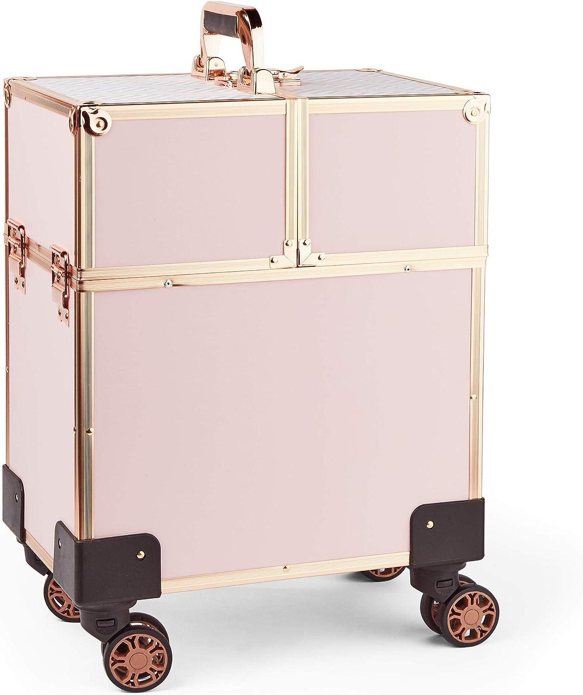 Beautify Carrito de Belleza en color Oro Rosa – Estuche de Transporte - Caja de Vanidad - Maleta de Equipaje -Organizador de Almacenamiento - Peluquero, MUA, Artista de Uñas