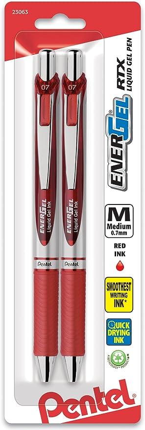 Pentel EnerGel Deluxe RTX Retractable Gel Pens Fine Point Red 816146