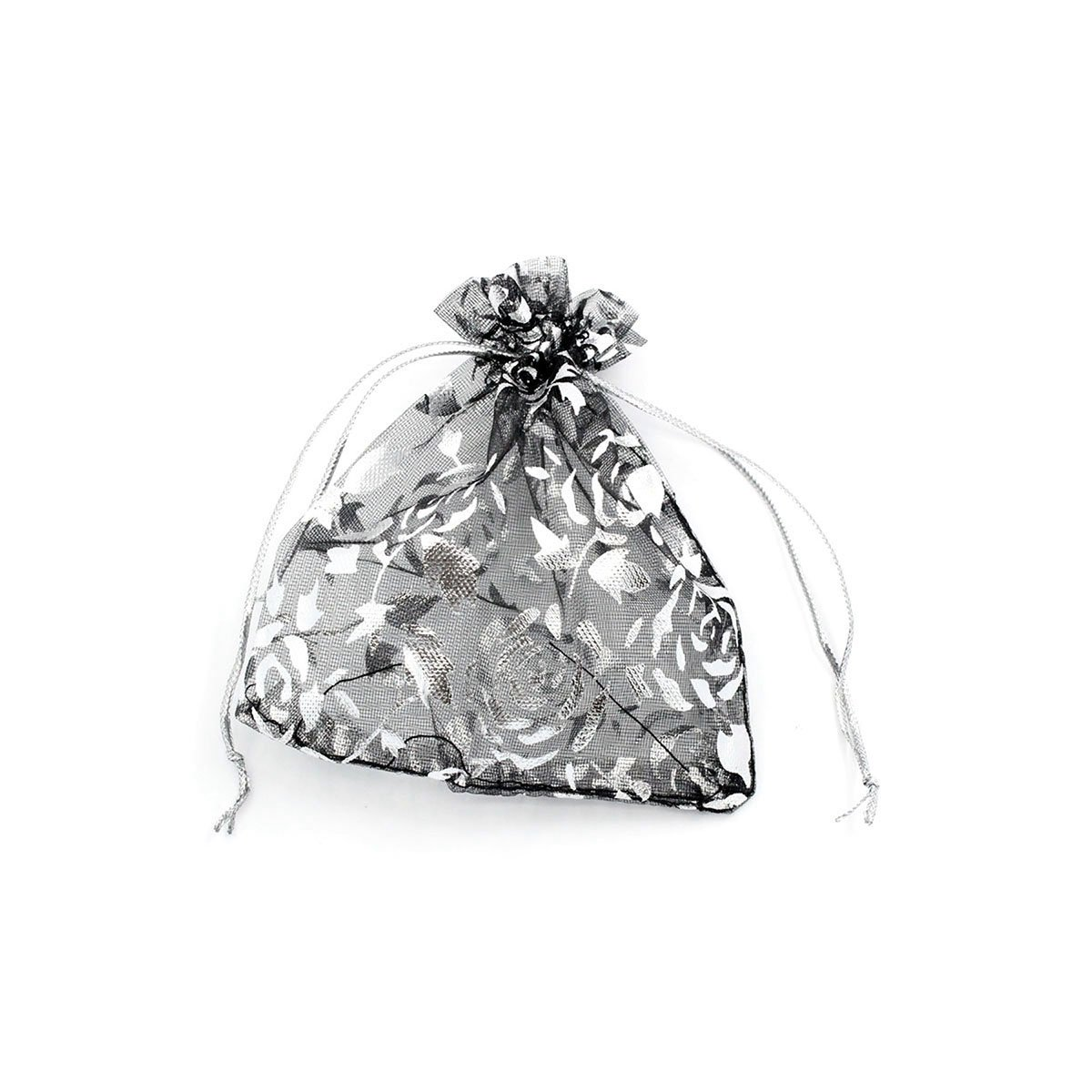 10cm x11.6cm Black With Silver Rose Organza Jewelry Pouches Wedding Party Christmas Gift Silk Bags 100pcs