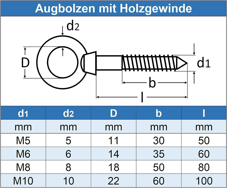- Augbolzen mit Holzgewinde 1 St/ück Ringbolzen 10 x 100 mm rostfrei Edelstahl A4 V4A Eisenwaren2000 /Ösenbolzen