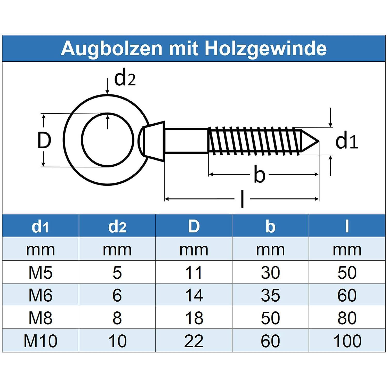 Edelstahl A4 V4A Eisenwaren2000 - Augbolzen mit Holzgewinde Ringbolzen 8 x 80 mm /Ösenbolzen 2 St/ück rostfrei
