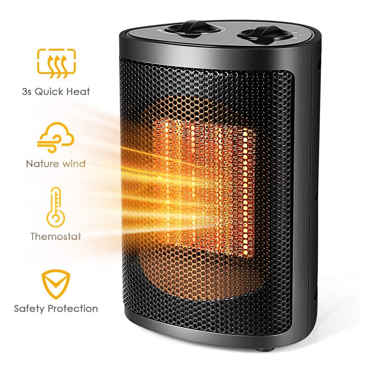 Ceramic Space Heater with Overheat Protection and Carry Handle for Desk Office Home Bedroom