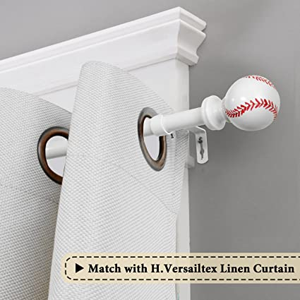 H.VERSAILTEX Window Treatment Single Rod Set with Baseball Caps White SINGLE-702-B Adjustable Length from 28 to 48-Inch,3//4 Inch Diameter