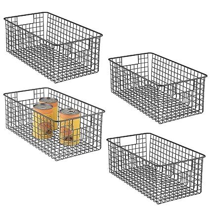 gris oscuro Ideal como organizador de ba/ño para cosm/éticos mDesign Cesta de almacenaje en metal con asas integradas Caja organizadora peque/ña con atractivo dise/ño de alambre