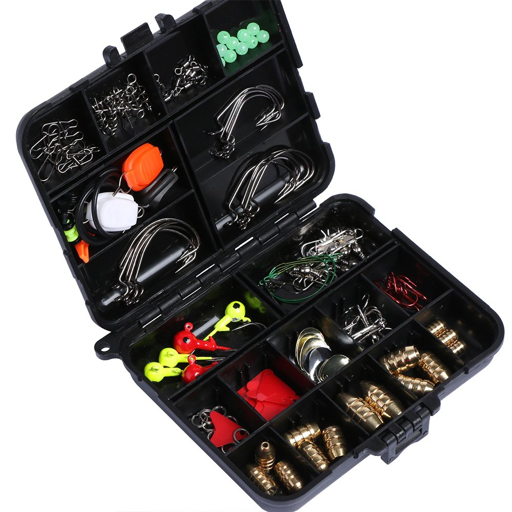 Goture 128pcs Fishing Accessories Hook/Spoon/Sinker/Swivel/Sequin/Leader Wire/Stopper For Freshwater/Sea Fishing Tackle Box