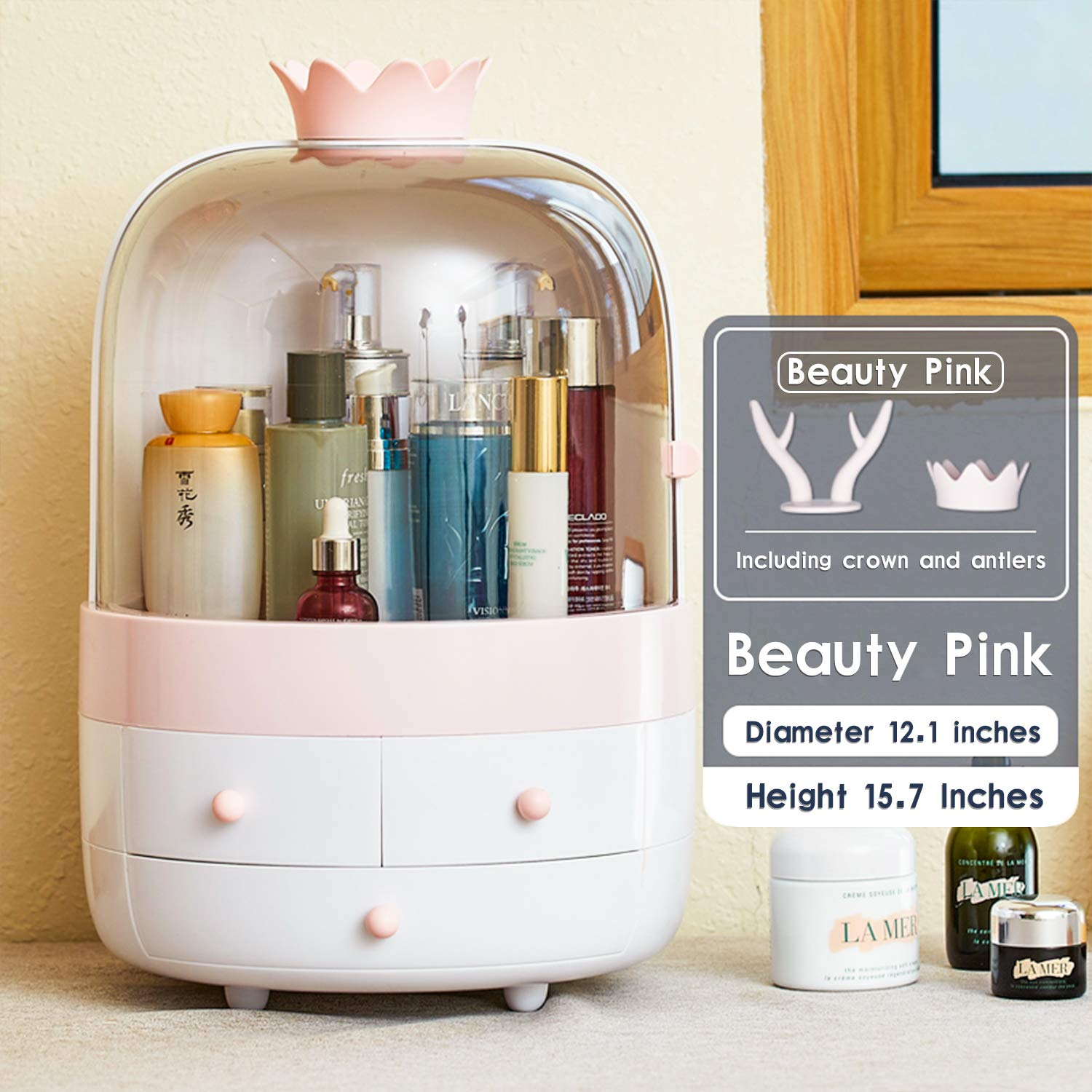 Multifunctional Makeup Organizer with Dustproof Jewelry and Cosmetic Storage Skin Care Products Rack Dressing Table Desktop Finishing Box with Drawer on Countertop (Pink-White) by  ESOUL TECHNOLOGY