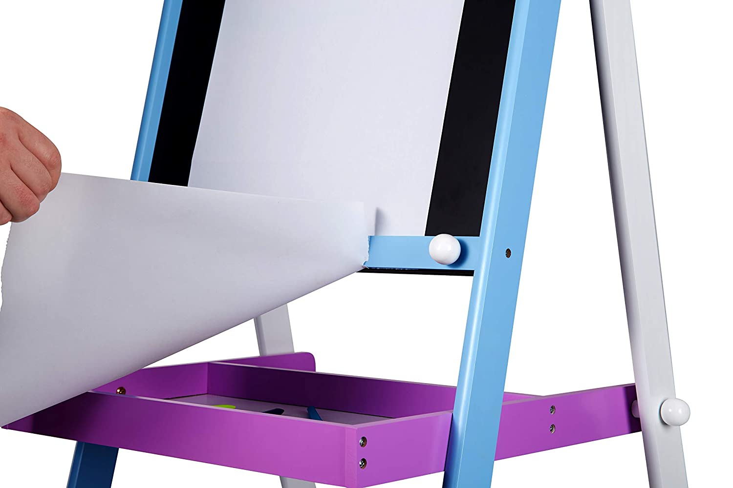 The Living Store Deluxe Adjustable Sketch Easel Drawing White Board Chalk Board and Paper Roller