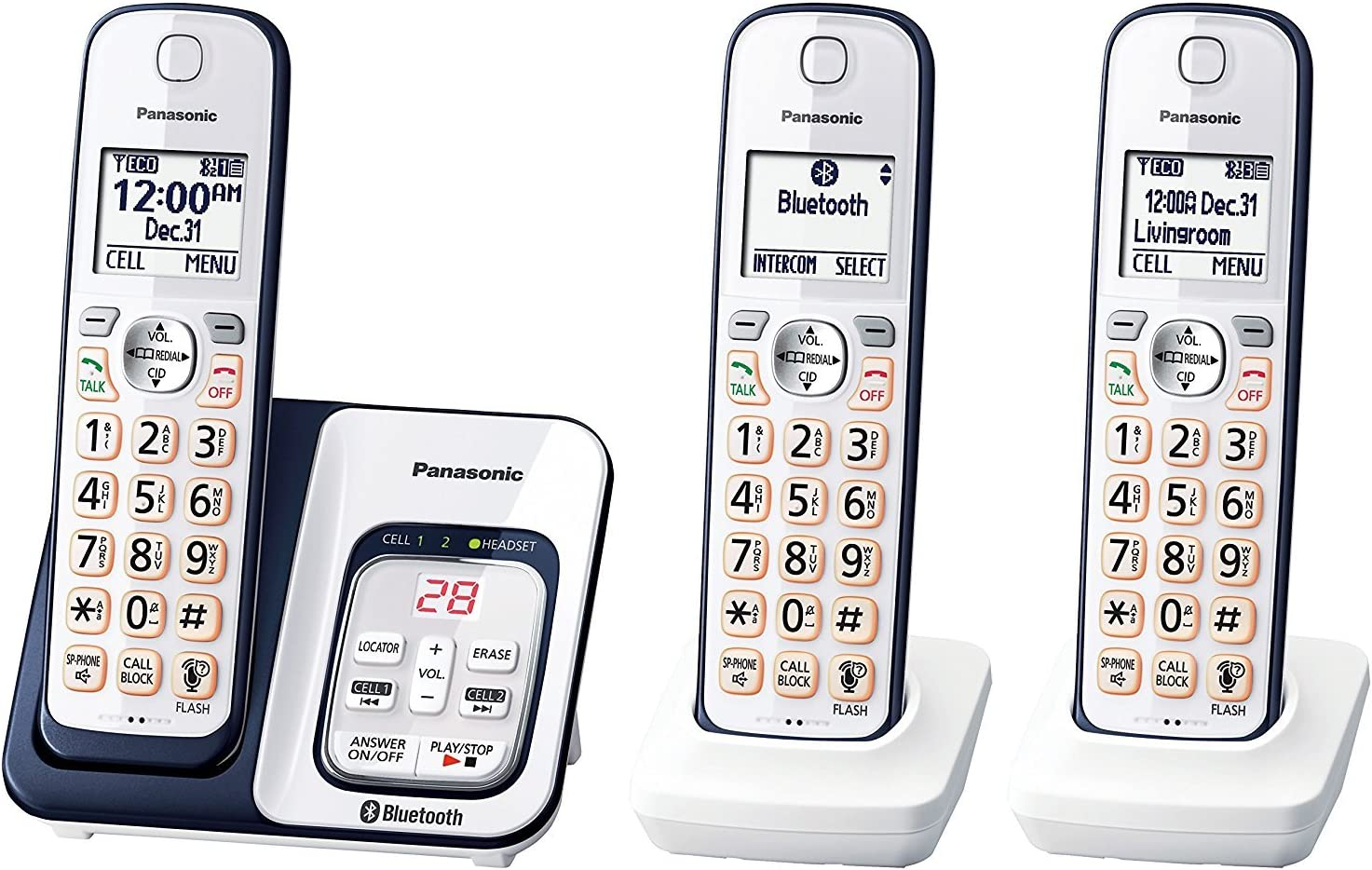 Panasonic KX-TGD563A Link2Cell Bluetooth Cordless Phone with Voice Assist and Answering Machine - 3 Handsets (Renewed)