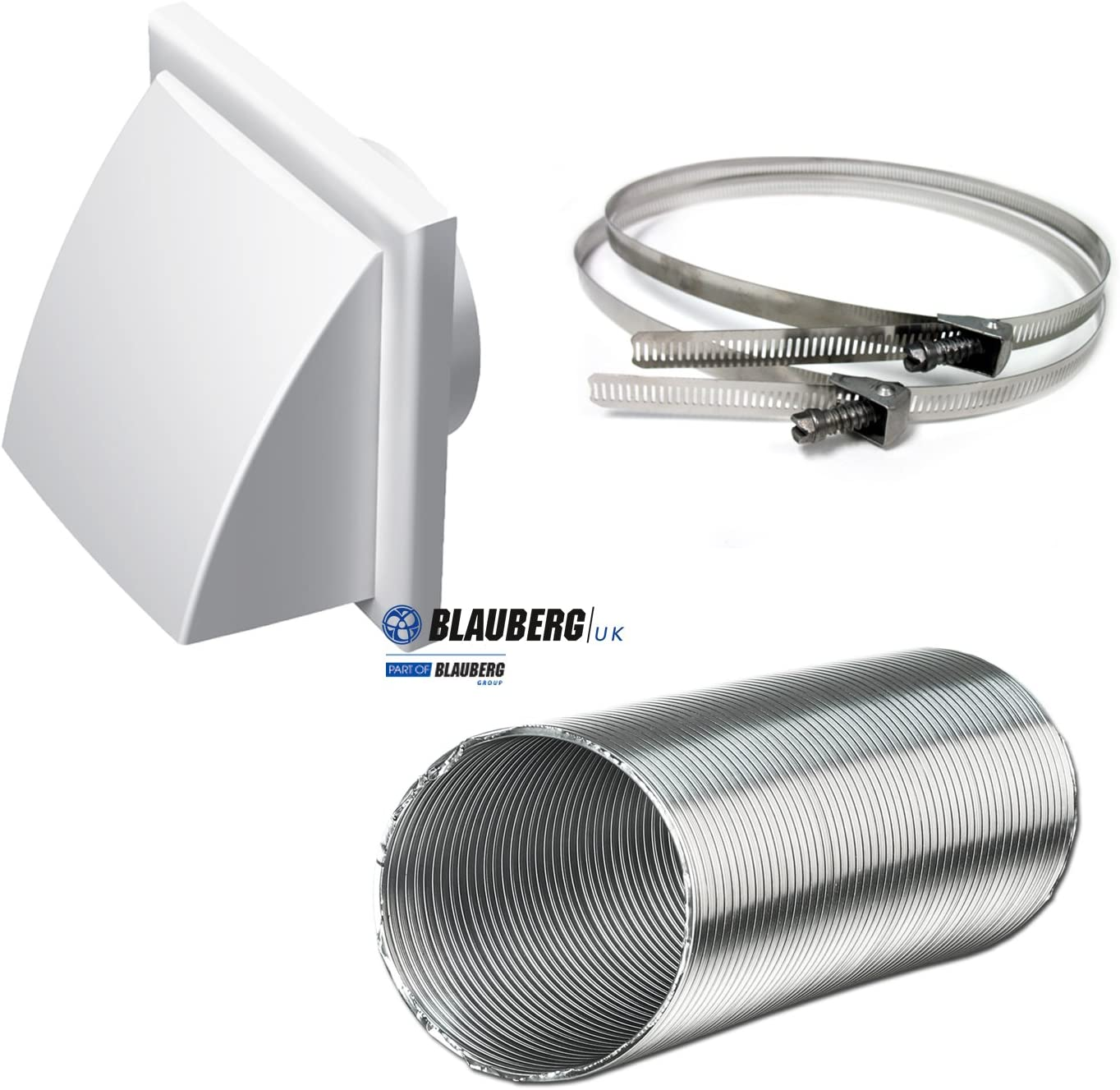 6 Grey Cooker Hood Wall Ventilation Duct Cowled Grille Shutter Vent Kit Bathroom Fan or Kitchen Hob Extractor