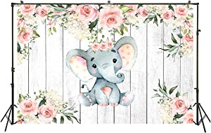 Backdrops Girl Baby Shower Party Banner royal princess birthday party Floral Elephant Wood Background Peanut Wallpaper dessert Cake Table decoration Poster Scene Setter Wall Mural Backdrops 5x3ft