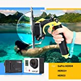 TELESIN [Upgrade Version] 6 inch Aluminium Underwater Photography Gopro Dome Port Housing Shell for Gopro, Waterproof Floaty Monopod Dome Port with Non-slip Buoyancy Bobber Handheld Grip for the Gopro Hero 3/3+ Hero 4 Camera Accessories