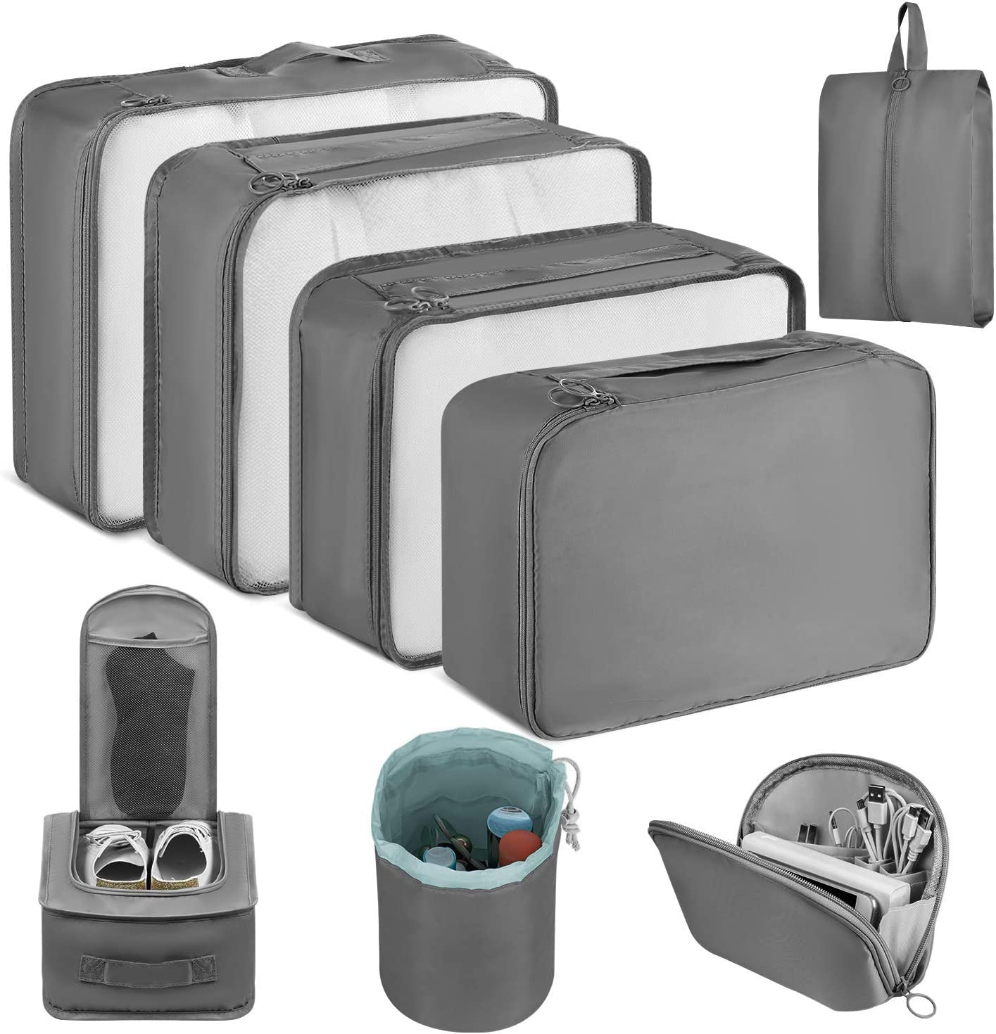 Newdora 8 en 1 Set de Organizador de Equipaje Viaje con Bolsa de Zapato,Impermeable Organizador de Maleta Bolsa para Ropa Sucia de Viaje, Portatrajes de Viaje, Material Nylon