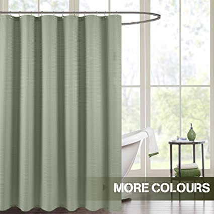 Waterproof Shower Curtain Olive Waffle Weave Fabric Rust Resistant Metal Grommets Top For