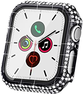Fullife Compatible with Apple Watch Case, Bling Cases Replacement for Apple Watch 38mm 40mm 42mm 44mm Protective Bumper for Compatible with Apple Watch Series 5 4 3 2 1 (42mm-Black)