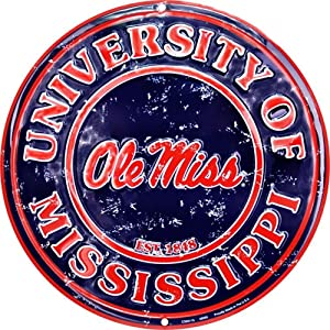 Signs 4 Fun Srcmr MS Univ Ole Miss Rebels Retro Round Sign