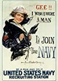 Gee I Wish I Were A Man Id Join The Navy Recruiting Propaganda Poster 12x18