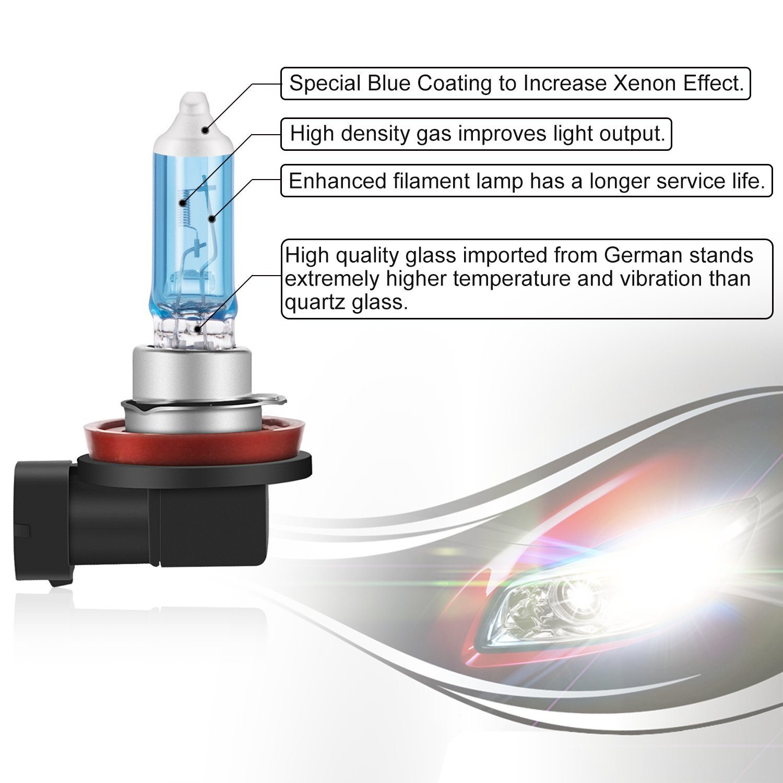 Agptek H11 Halogen Headlight Bulb Foglight Pgj19 2 12v Wiring Harness 55w 4800k Pack Automotive