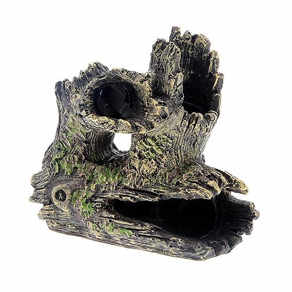 Topker Artesanía de resina de acuario Ornamento de peces Camarones de cría Ocultación Decoración de cueva Forma de madera: Amazon.es: Jardín