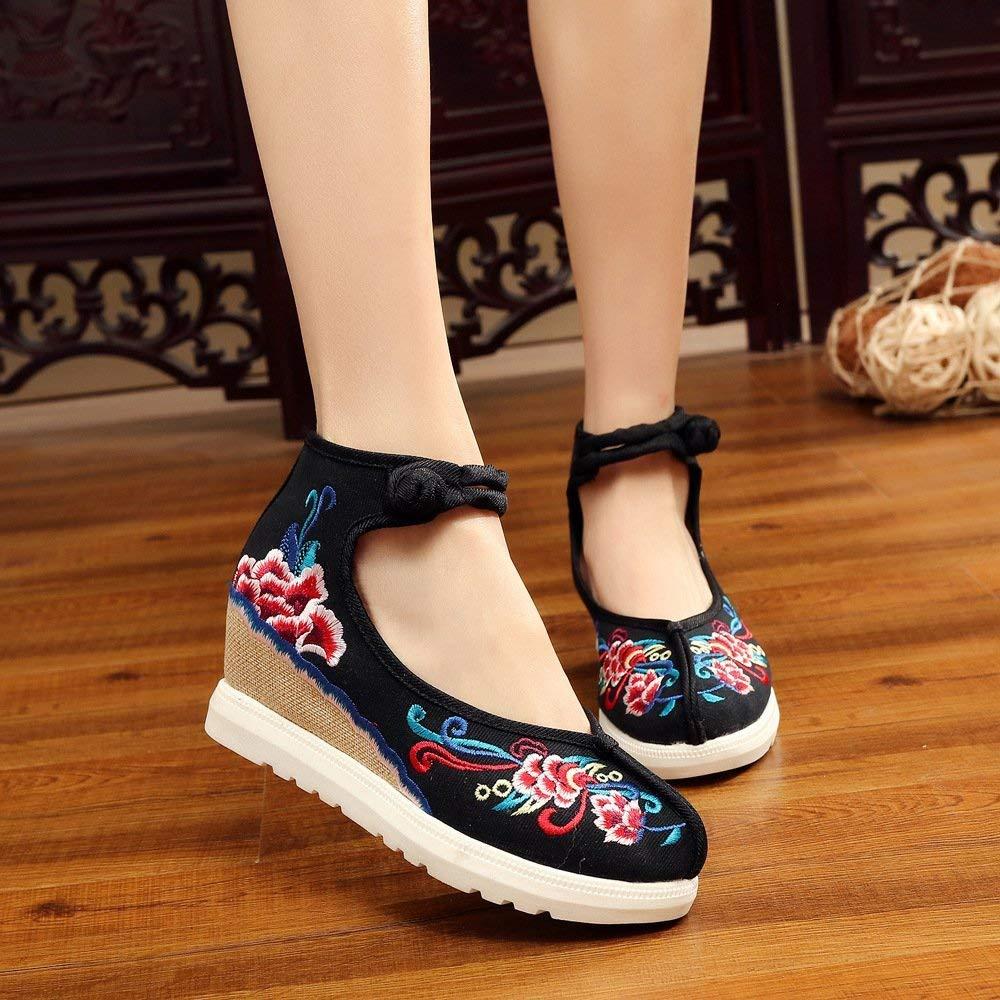 Willsego Bestickte Bestickte Bestickte Schuhe Leinen Sehnensohle Ethno-Stil Erhöhte Damenschuhe Mode bequem lässig schwarz 38 (Farbe   - Größe   -) 065806
