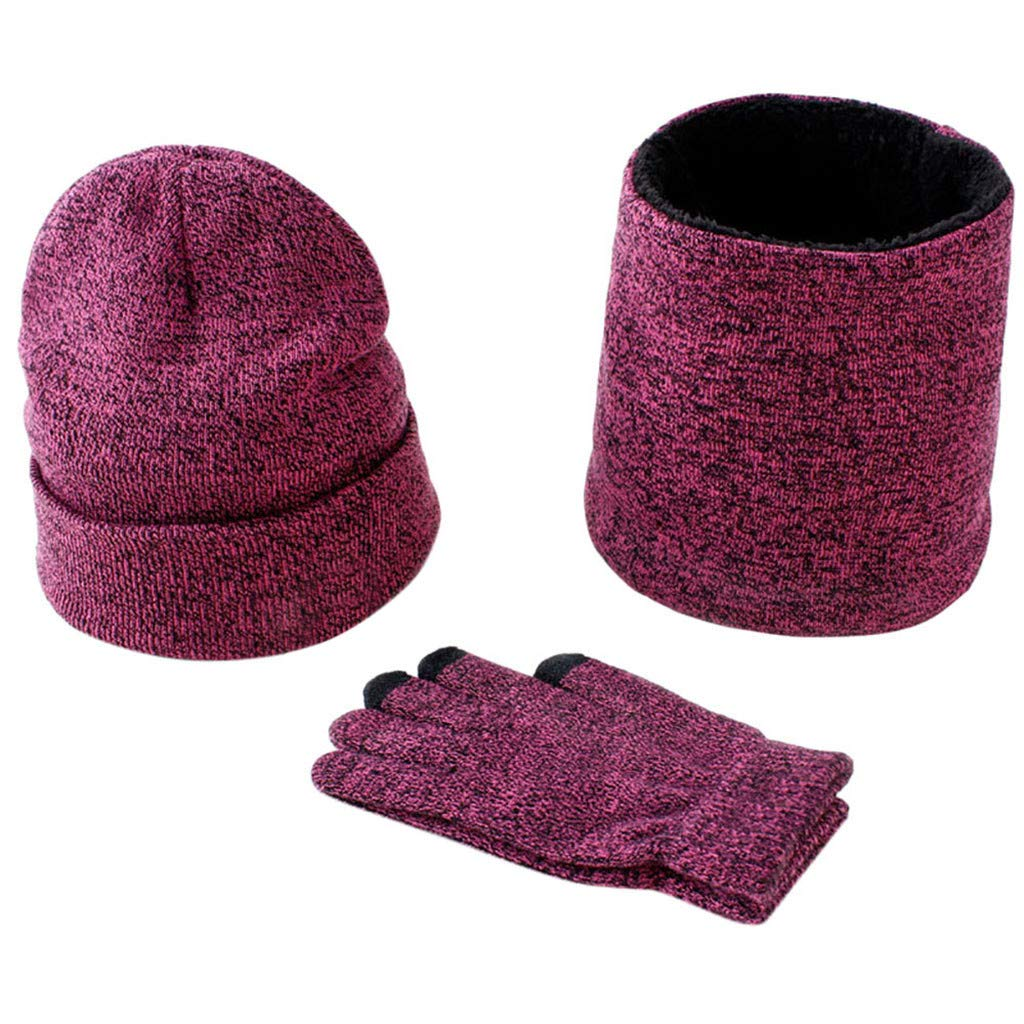 TwoCC-Sombrero de punto, guantes de bufanda de terciopelo, Winter ...