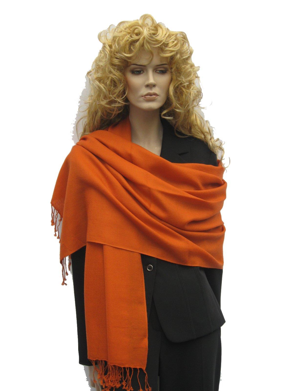 Pashmina scarf, shawl, wrap (2 Ply Pure Pashmina wrap) from Cashmere Pashmina Group (Burnt Orange)