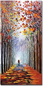 V-inspire Art,24X48 inch modern Impressionist landscape art romantic forest autumn decoration Canvas Wall Art Painting display art