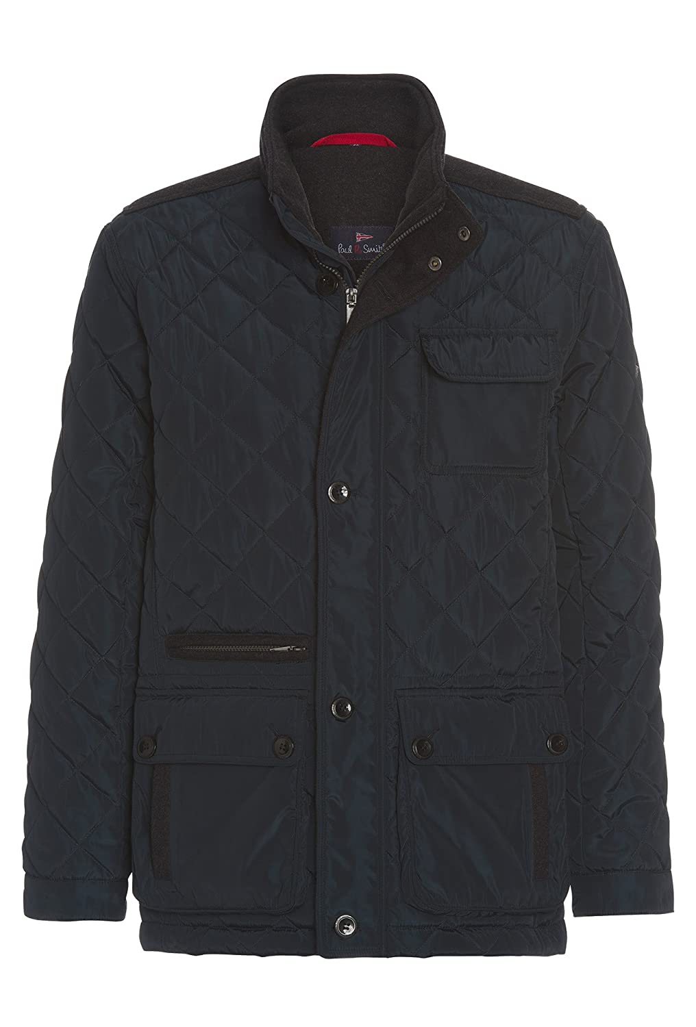 Paul R.Smith, Dunkelblaue Steppjacke Mit Akzenten In Wolloptik, Herren