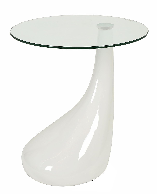 Ts-Ideen 8820 - Tavolino con piedistallo a goccia, ripiano in vetro di sicurezza monolastra ESG, spessore: 8 mm, colore: Bianco