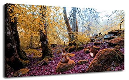 89a4bf7fda0 Canvas Wall Art Prints Autumn Forest Landscape Modern Pictures Purple Tones  Painting Nature Squirrel Animals One