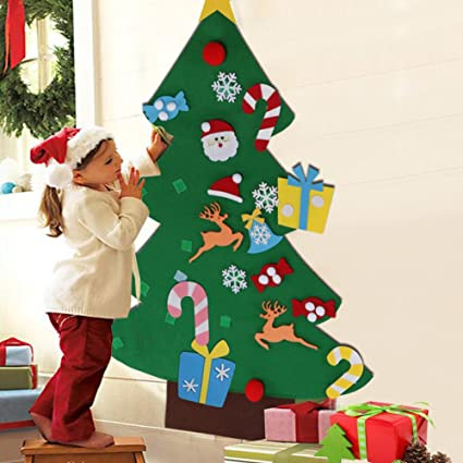 Kids Christmas.Aytai 3ft Diy Felt Christmas Tree Set With Ornaments For Kids Xmas Gifts Christmas Decorations New Year Door Wall Hanging Decorations