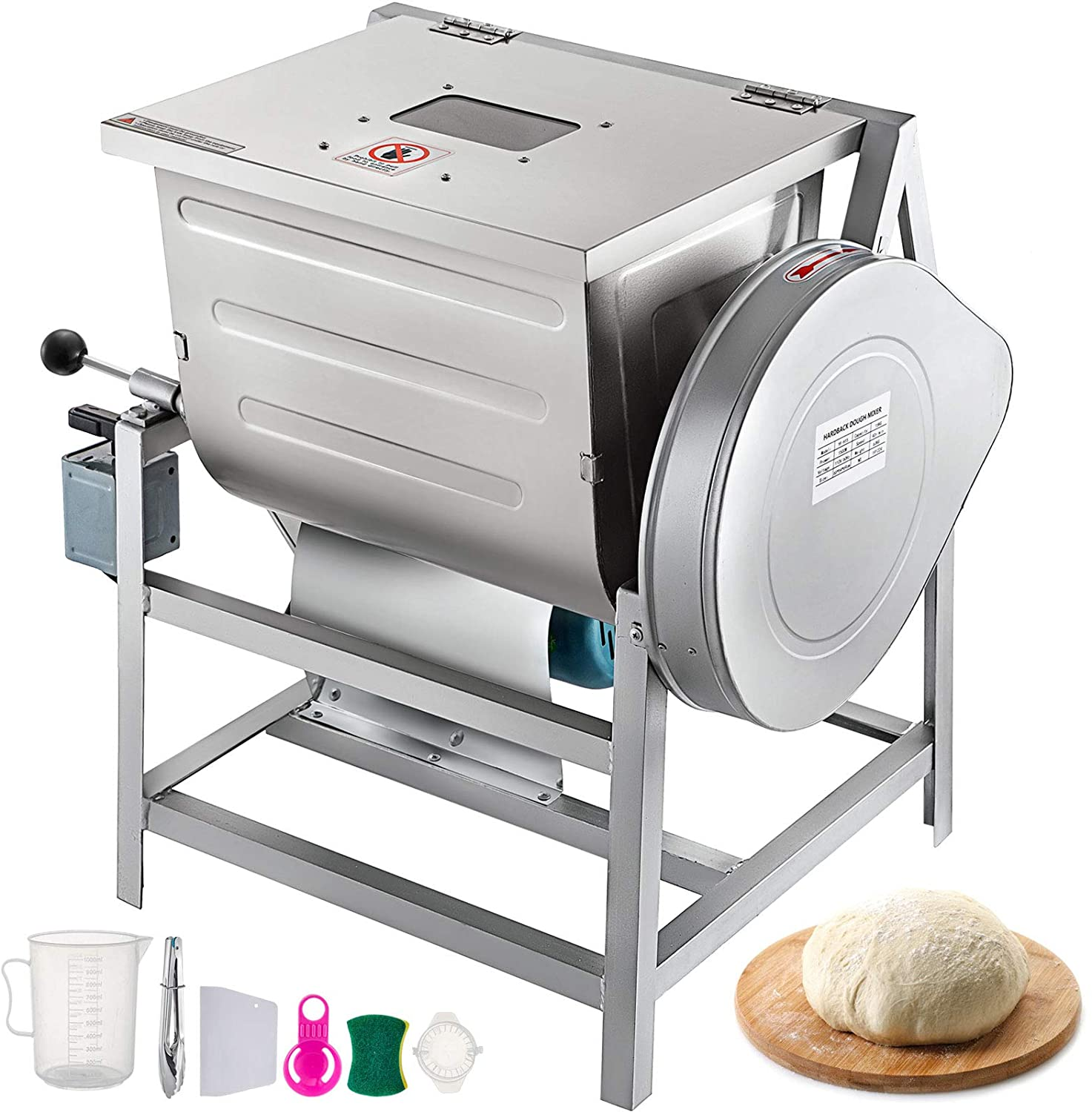 VEVOR 110V Commercial Dough Mixer 25kg, Kneading Capacity 50 QT, Flour Mixer 2200W, with Visible Lid, Heavy-Duty Pizza Dough Mixer 304 Stainless Steel, Professional Kitchen Equipment
