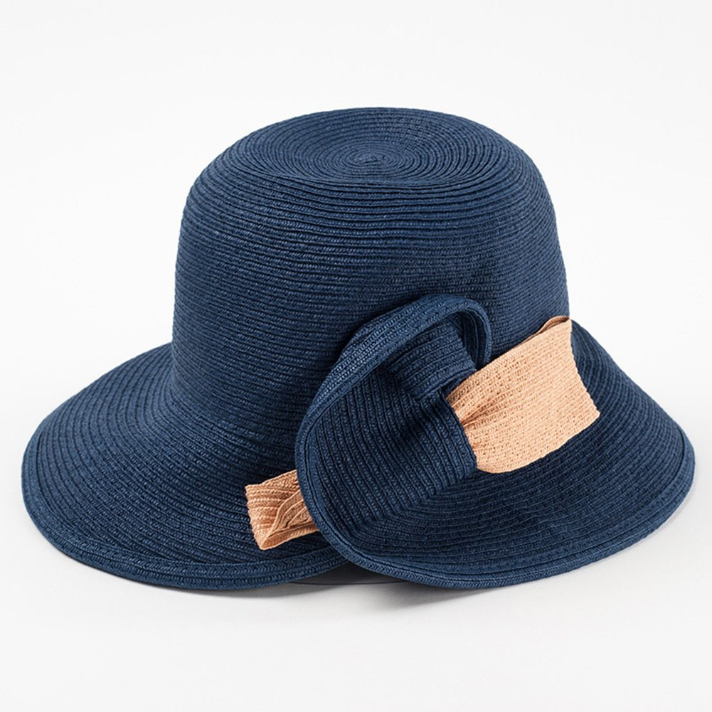 Dark bluee Cool Hat Summer Hat, Sun Hat Women Summer Beach Cap Straw Braid Floppy Foldable Packable Travel, 4 colors Optiona