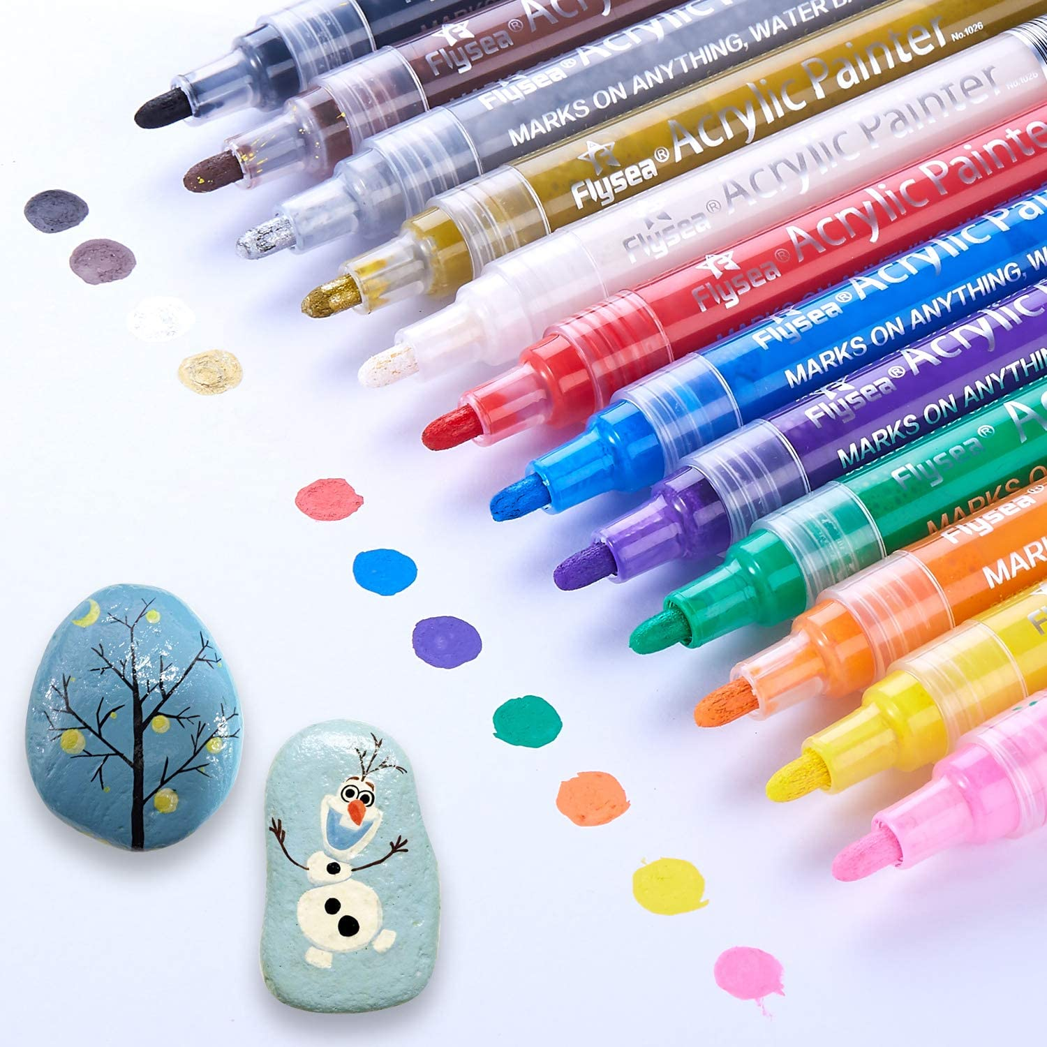 Acrylic Paint Marker Pens, Waterproof Paint Pens for Rocks Painting, Ceramic, Glass, Wood, Fabric, Canvas, Mugs, DIY Craft Making Supplies, Scrapbooking Craft, Card Making (12colors)
