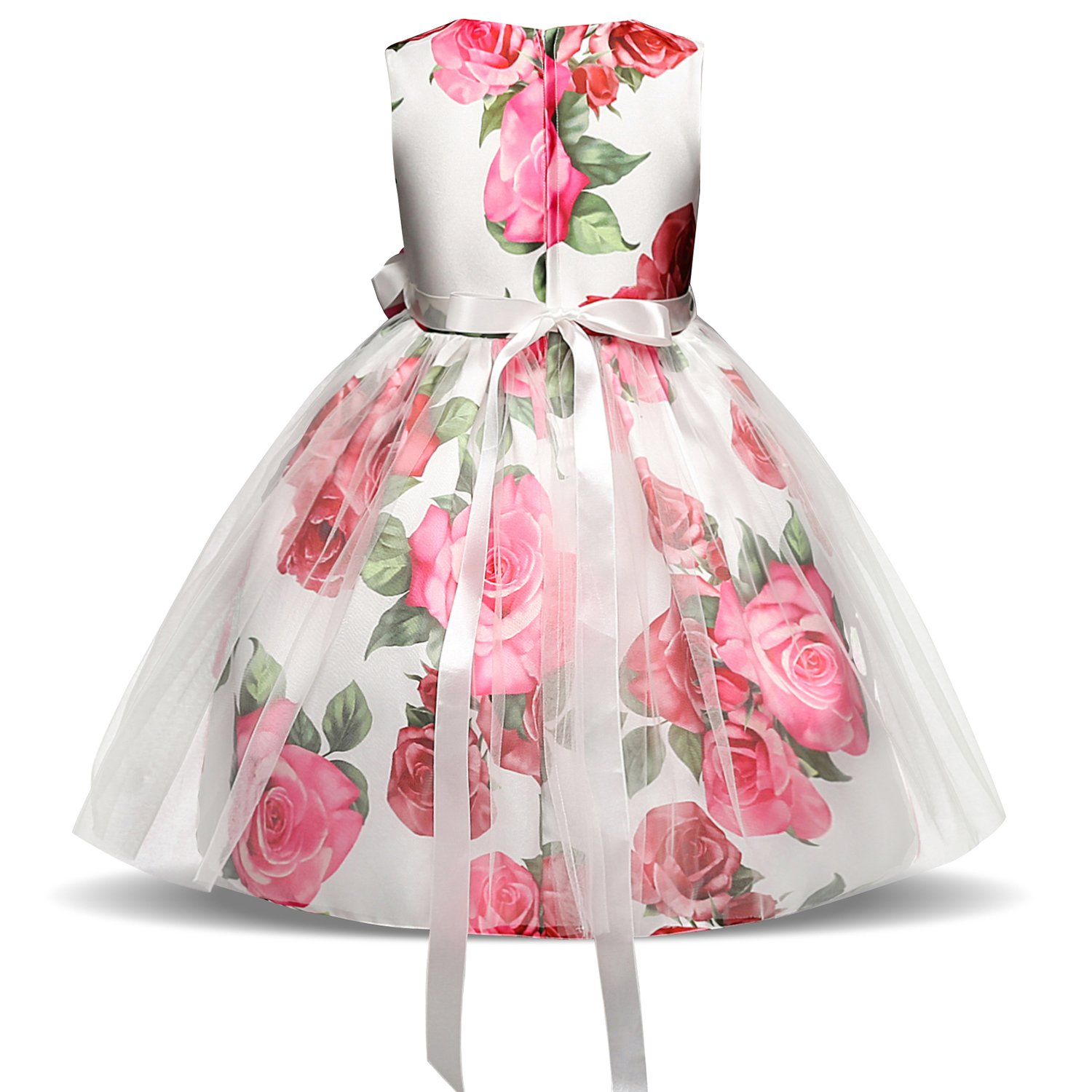 NNJXD Girl Flower Printed Cotton Elegant Tulle Bow Belt Princess Dress Size (130) 5-6 Years Pink by NNJXD (Image #2)