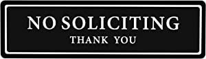 "Premium No Soliciting Thank You Sign for House/Office, Self Adhesive Modern Design Door Sign 2.35"" x 8.25""Home Décor Accessories Door Or Wall, White Big Letters on Black Plate"